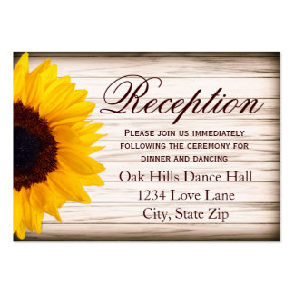 Rustic Sunflower Wedding Reception Enclosure Card Large Business Cards (Pack Of 100)