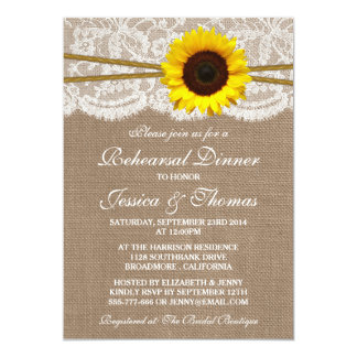 Rustic Sunflower Wedding Rehearsal Dinner 5x7 Paper Invitation Card