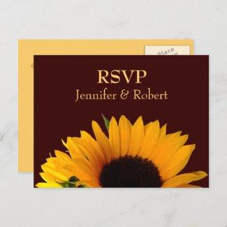 Rustic Sunflower Wedding RSVP Invitation Postcard