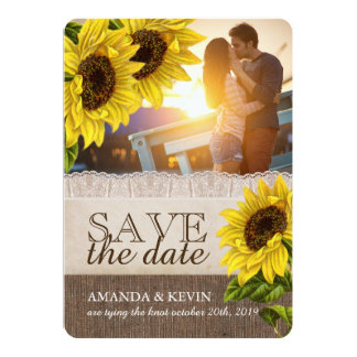 Rustic Sunflower Wedding Save the Date Card