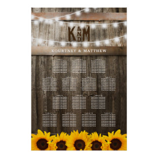 Rustic Sunflower Wedding Seating Table Chart