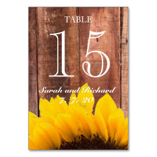 Rustic Sunflower Wedding Table Number Card