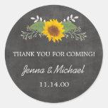 Rustic Sunflower Wedding thank you favor sticker