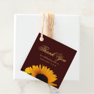 Rustic Sunflower Wedding Thank You Favor Tags
