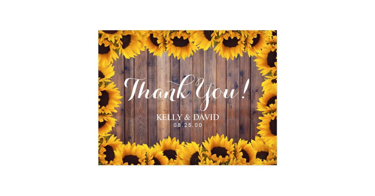 Rustic Sunflower Wedding Thank You