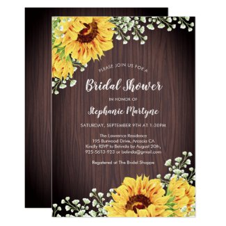 Rustic Sunflower White Floral Wood Bridal Shower Invitation