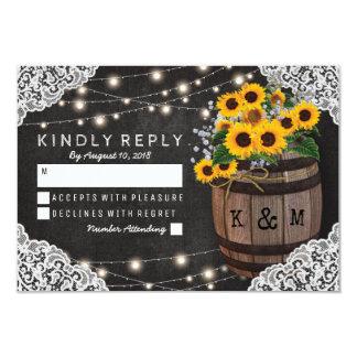Rustic Sunflower Winery Wedding Invitation RSVP