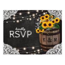 Rustic Sunflower Winery Wedding Invitation RSVP Postcard