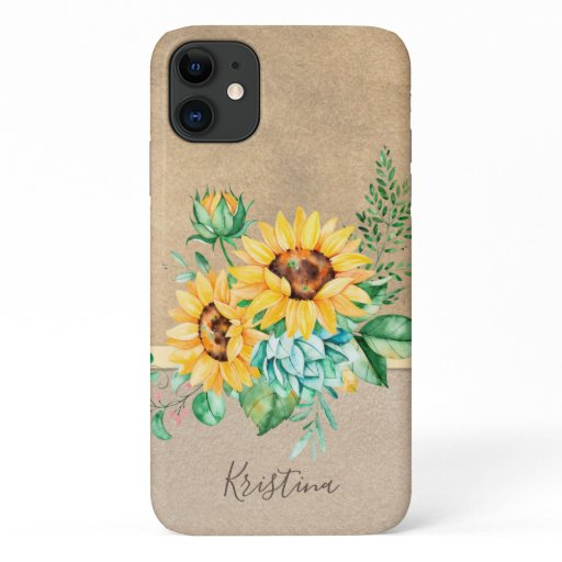 Rustic Sunflower with Name iPhone 11 Case