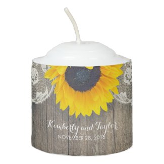 Rustic Sunflower and Lace Votive Candles
