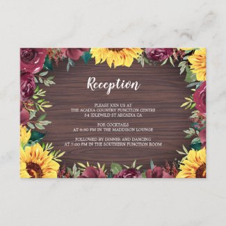 Rustic Sunflower Wood Floral Wedding Reception Enclosure Card
