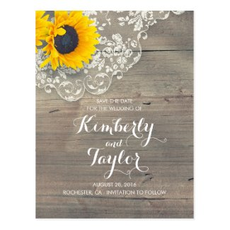 Rustic Sunflower Save the Date Cards