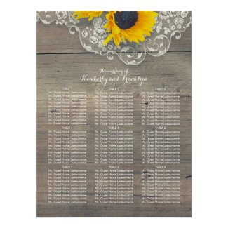Rustic Sunflower and Lace Wedding Seating Chart