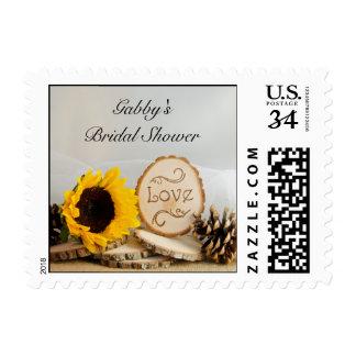 Rustic Sunflower Woodland Bridal Shower Postage