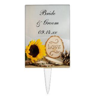 Rustic Sunflower Woodland Wedding Cake Topper