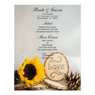 Rustic Sunflower Woodland Wedding Menu Flyer