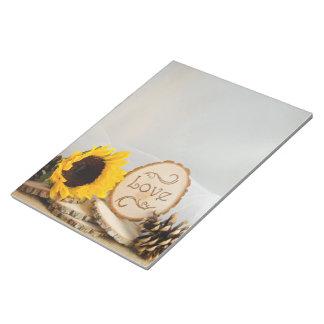 Rustic Sunflower Woodland Wedding Note Pad