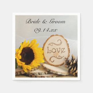 Rustic Sunflower Woodland Wedding Paper Napkin