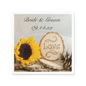 Rustic Sunflower Woodland Wedding Paper Napkins