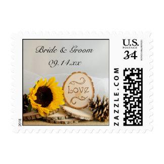 Rustic Sunflower Woodland Wedding Postage Stamp