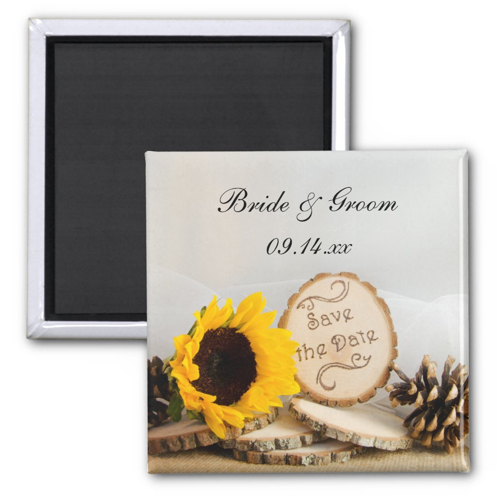 Rustic Sunflower Woodland Wedding Save the Date Fridge Magnets