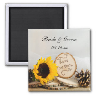 Rustic Sunflower Woodland Wedding Save the Date Magnet