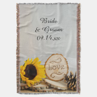 Rustic Sunflower Woodland Wedding Throw