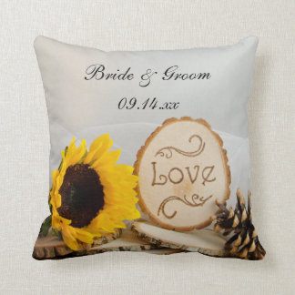 Rustic Sunflower Woodland Wedding Throw Pillow
