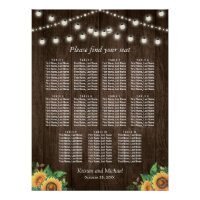 Rustic Sunflowers 11 Tables Wedding Seating Chart