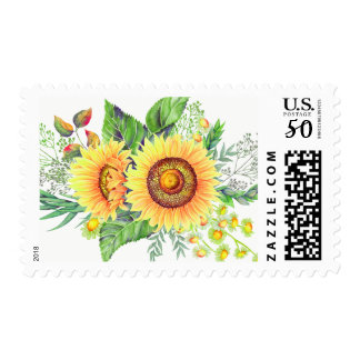 Rustic Sunflowers and Baby's Breath Bouquet Postage