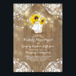 """Rustic Sunflowers and Baby&#39;s Breath Fall Wedding Card<br><div class=""""desc"""">Rustic sunflower blossoms and baby&#39;s breath bouquet mason jar wedding invitations with barn wood,  string lights,  and lace decor. --- All design elements created by Jinaiji</div>"""