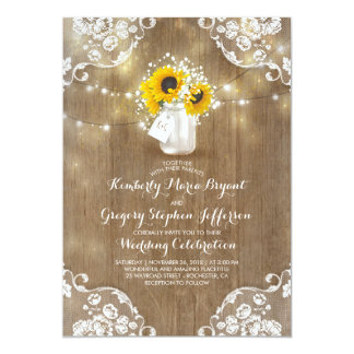 Rustic Sunflowers and Baby's Breath Fall Wedding Card