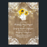 "Rustic Sunflowers and Baby&#39;s Breath Fall Wedding Invitation<br><div class=""desc"">Rustic sunflower blossoms and baby&#39;s breath bouquet mason jar wedding invitations with barn wood,  string lights,  and lace decor. --- All design elements created by Jinaiji</div>"