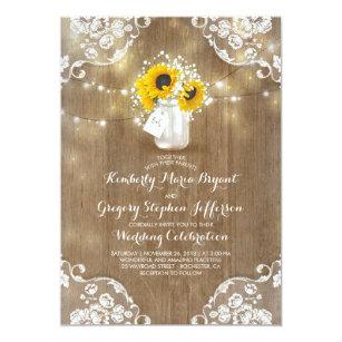 Sunflower wedding invitations announcements zazzle rustic sunflowers and babys breath fall wedding invitation filmwisefo