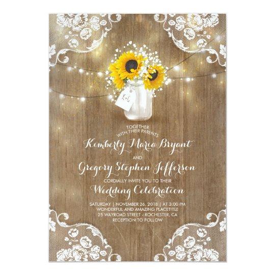 Rustic Sunflowers And Babyu0027s Breath Fall Wedding Invitation