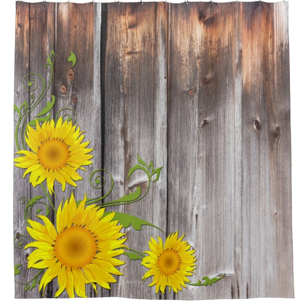 Rustic Sunflowers and Barnwood Shower Curtain