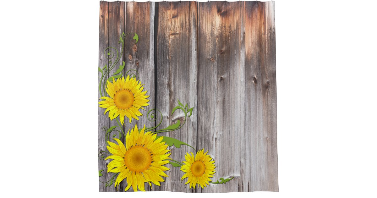 rustic sunflowers and barnwood shower curtain zazzle. Black Bedroom Furniture Sets. Home Design Ideas