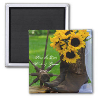 Rustic Sunflowers and Boots Wedding Save the Date 2 Inch Square Magnet