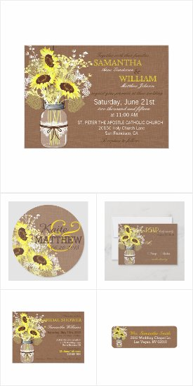 Rustic Sunflowers and Burlap Wedding Invites Announcements