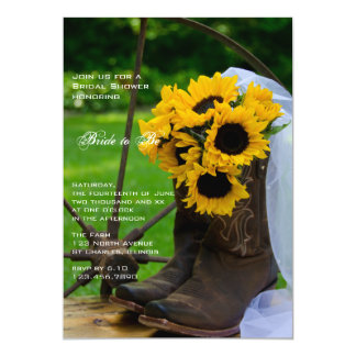 Rustic Sunflowers and Cowboy Boots Bridal Shower 5x7 Paper Invitation Card