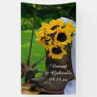 Rustic Sunflowers and Cowboy Boots Country Wedding Banner