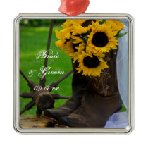 Rustic Sunflowers and Cowboy Boots Country Wedding Metal Ornament
