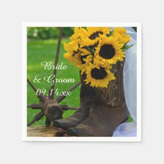 Cowboy paper napkin with flowers and cowboy boots