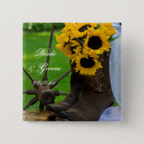 Rustic Sunflowers and Cowboy Boots Country Wedding Pinback Button