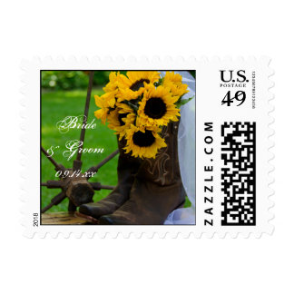 Rustic Sunflowers and Cowboy Boots Country Wedding Postage