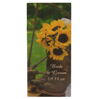 Rustic Sunflowers and Cowboy Boots Country Wedding Wood USB Flash Drive