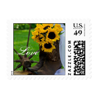 Rustic Sunflowers and Cowboy Boots Love Wedding Stamp
