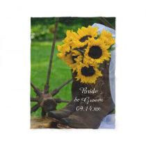 Rustic Sunflowers and Cowboy Boots Western Wedding Fleece Blanket