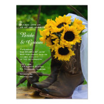 Rustic Sunflowers and Cowboy Boots Western Wedding Magnetic Invitation