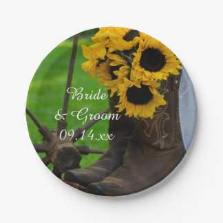 Rustic Sunflowers and Cowboy Boots Western Wedding Paper Plate